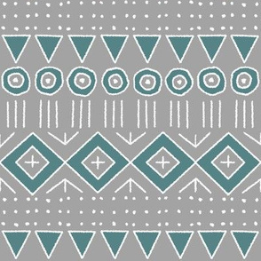 mudcloth 2 in gray and teal