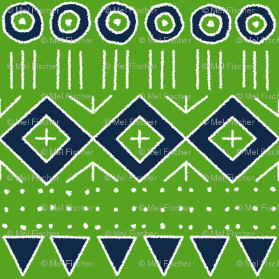 mudcloth 2 in Lime Green and Navy Blue