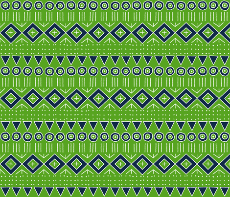 mudcloth 2 in Lime Green and Navy Blue fabric by mel_fischer on Spoonflower - custom fabric