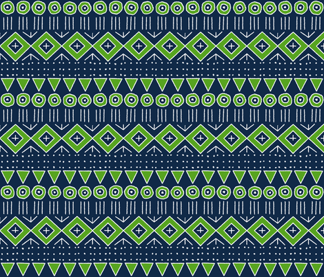 mudcloth 2 in Navy Blue and Lime Green fabric by mel_fischer on Spoonflower - custom fabric