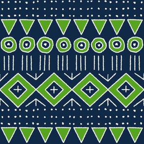 mudcloth 2 in Navy Blue and Lime Green