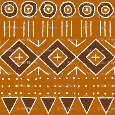 mudcloth 2 in orange and brown