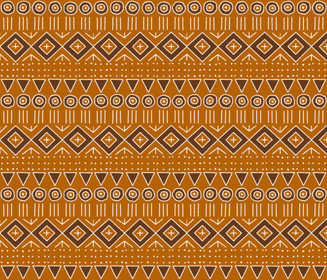 mudcloth 2 in orange and brown fabric by mel_fischer on Spoonflower - custom fabric