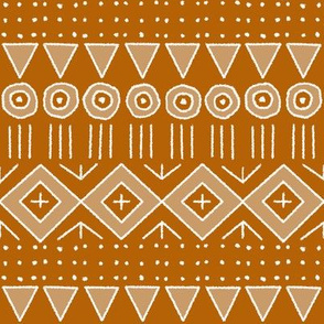 mudcloth 2 in orange and tan