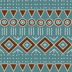 mudcloth style 2 in turquoise and brown
