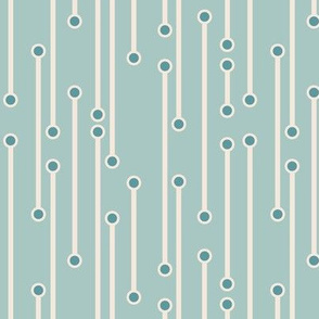 dotted lines in sea foam, teal and cream