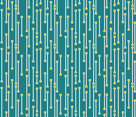 dotted lines in teal, mustard and white fabric by mel_fischer on Spoonflower - custom fabric