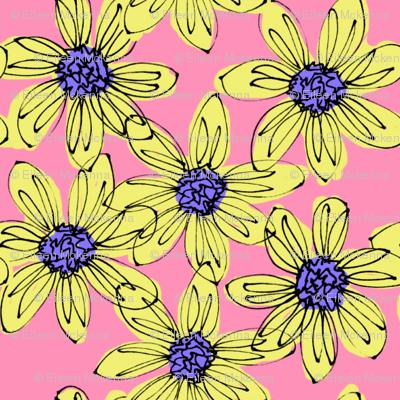 Happy Yellow Dahlias on Pink