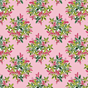 Green & Pink Petals & Leaves diamond pattern