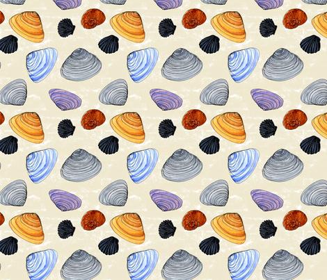 Watercolor Shells fabric by eileenmckenna on Spoonflower - custom fabric