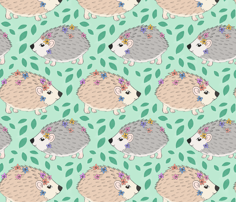 Forest Fete Hedgehogs fabric by charladraws on Spoonflower - custom fabric