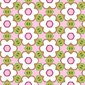 Geometric Pink & White Daisy Pattern