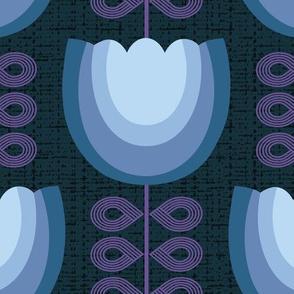 Mod blue flowers-60s