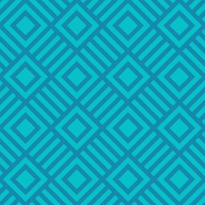 Geometric Square Teal Turquoise Large Tonal