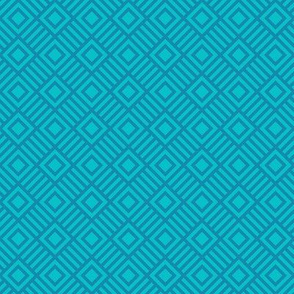 Geometric Square Teal Turquoise Small Tonal