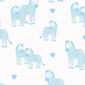 Zebra baby boy blue hearts safari jungle animal nursery