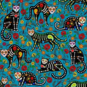 Calavera cats on blue (large scale)