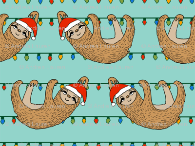 SMALL - christmas sloth // cute xmas holiday christmas fabric, sloth, father christmas, santa claus, cute animals - blue