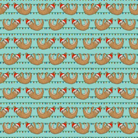 SMALL - christmas sloth // cute xmas holiday christmas fabric, sloth, father christmas, santa claus, cute animals - blue fabric by andrea_lauren on Spoonflower - custom fabric