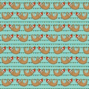 SMALL - christmas sloth // cute xmas holiday christmas fabric, sloth, father christmas, santa claus, cute animals - blue