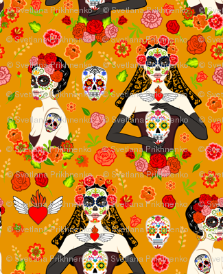 calavera women on orange (small scale)
