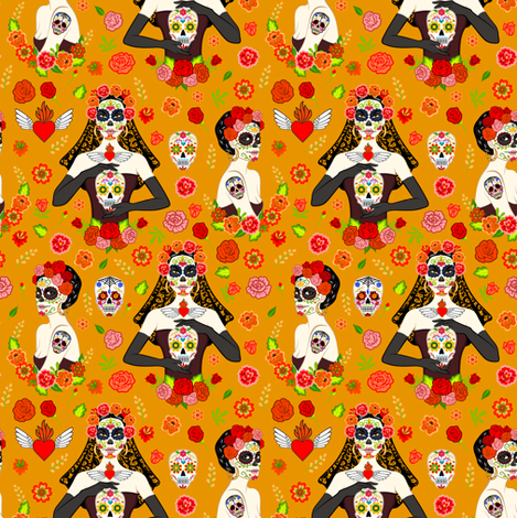 calavera women on orange (small scale) fabric by svetlana_prikhnenko on Spoonflower - custom fabric