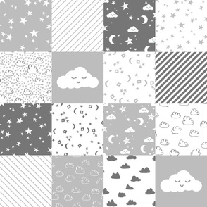 RAILROAD cloud and stars nursery cheater // cheater quilt, wholecloth, baby, grey and white clouds, nursery cute