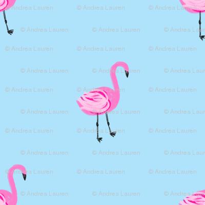 flamingo fabric // simple cute pink flamingo, baby, nursery, cute, summer preppy flamingos - blue