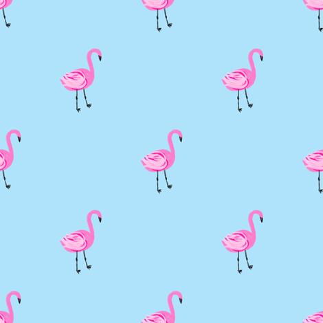 flamingo fabric // simple cute pink flamingo, baby, nursery, cute, summer preppy flamingos - blue fabric by andrea_lauren on Spoonflower - custom fabric