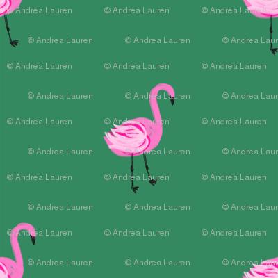 flamingo fabric // simple cute pink flamingo, baby, nursery, cute, summer preppy flamingos - green
