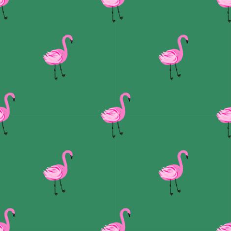 flamingo fabric // simple cute pink flamingo, baby, nursery, cute, summer preppy flamingos - green fabric by andrea_lauren on Spoonflower - custom fabric