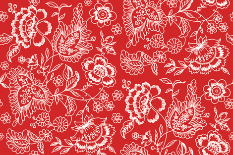 Kashmir Toile strawberry 2 fabric by lilyoake on Spoonflower - custom fabric
