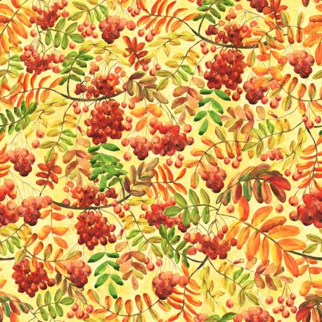 rowan on yellow (small scale) fabric by svetlana_prikhnenko on Spoonflower - custom fabric