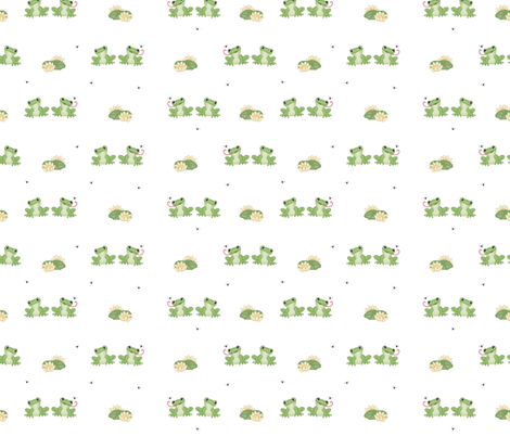 Frog Catching Fly Lily pad  fabric by decamp_studios on Spoonflower - custom fabric