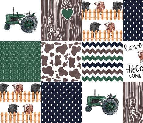 Farm//Love you till the cows come home//Hereford/Angus - Wholecloth Cheater Quilt fabric by longdogcustomdesigns on Spoonflower - custom fabric