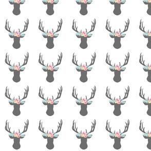 4 inch Deer Heads with Flower Crown