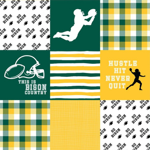 Football//Hustle Hit Never Quit//Bison - Wholecloth Cheater Quilt
