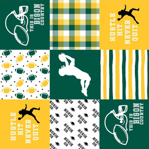 Fooyball//Hustle Hit Never Quit//Bison - Wholecloth Cheater Quilt - Rotated