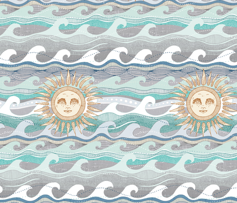 sun and waves fabric by scrummy on Spoonflower - custom fabric
