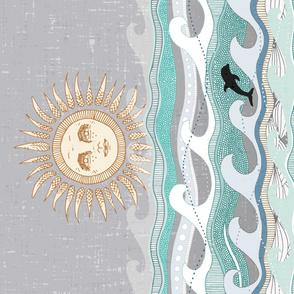 sunset dolphin waves yard panel
