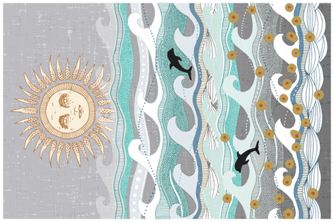 sunset martini waves tea towel fabric by scrummy on Spoonflower - custom fabric