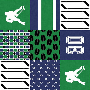 Hockey//Keep your stick on the ice//Blue/Green with #30 - wholecloth Cheater quilt - rotated