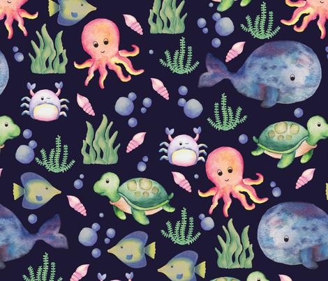 sea creatures on navy fabric by christelleheyns on Spoonflower - custom fabric