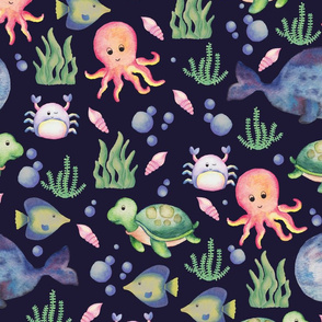 sea creatures on navy