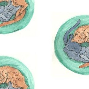 Kitty Yin Yang Watercolor