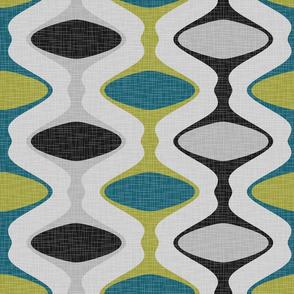 60s Ogee Stripe - Teal, Olive