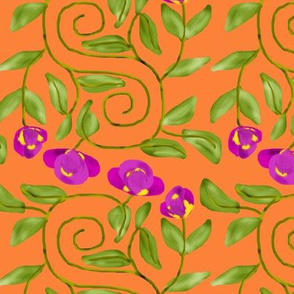 Double Spiral Retro Bicolor Flowers on Orange