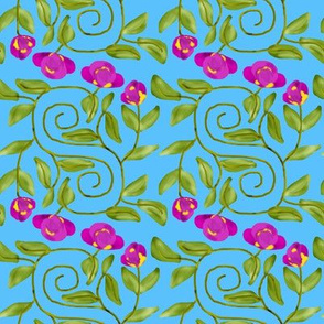 Double Spiral Retro Bicolor Flowers on Blue
