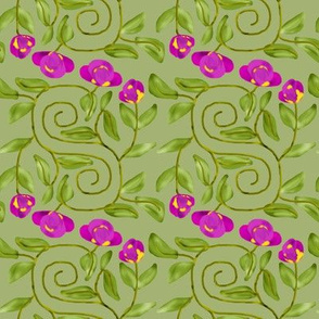 Double Spiral Retro Bicolor Flowers on Mint