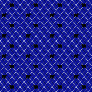 blue argyle with bears
